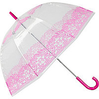 Pink floral print dome umbrella