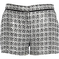 Silver metallic tweed shorts