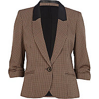 Brown check contrast collar blazer