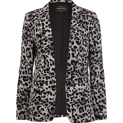 Grey animal print blazer