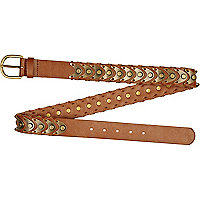 Brown gold tone metal scale belt