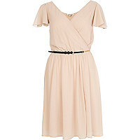 Beige chiffon v neck belted skater dress