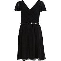 Black chiffon v neck belted skater dress