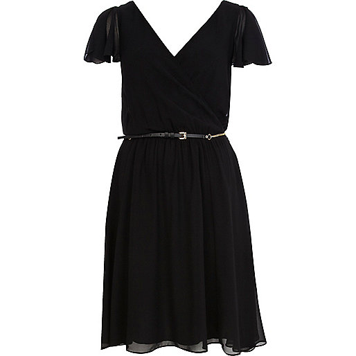 Black chiffon v neck belted skater dress