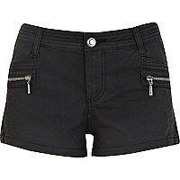 Black stitch detail zip hot pants