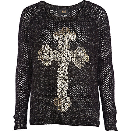 Black filigree cross print jumper