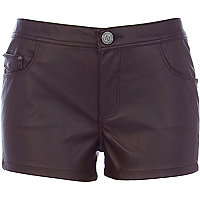 Dark burgundy leather look shorts