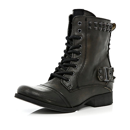 Black studded lace up biker boots