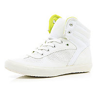 White neon lined perforated high tops