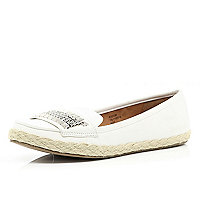 White stud panel espadrille loafers