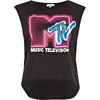 Dark grey MTV print tank top