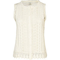 Cream crochet button through tank top