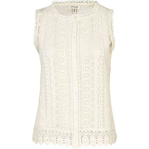 Cream crochet button down tank top