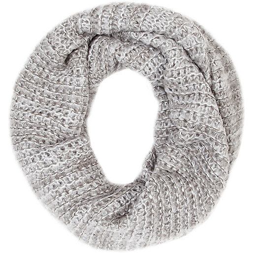 Grey open weave snood
