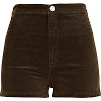 Khaki corduroy high waisted shorts