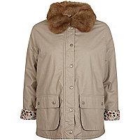 Beige faux fur collar waxed jacket
