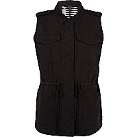 Black cut out back sleeveless utility gilet
