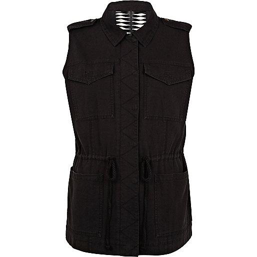 Black cut out back sleeveless utility gilet