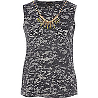 Grey spike necklace tank top