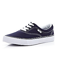 Navy blue canvas lace up plimsolls