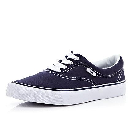 navy blue canvas lace up plimsolls shoes boots sale