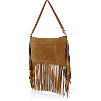 Tan suede fringed cross body bag