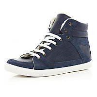 Navy shearling lined high tops