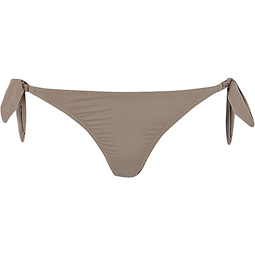 Gold skinny tie side bikini bottoms