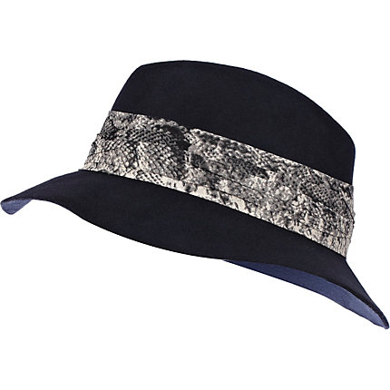 Navy snake trim fedora hat