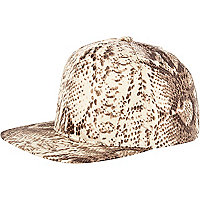 Brown snake print trucker hat