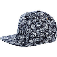 Blue paisley print trucker hat