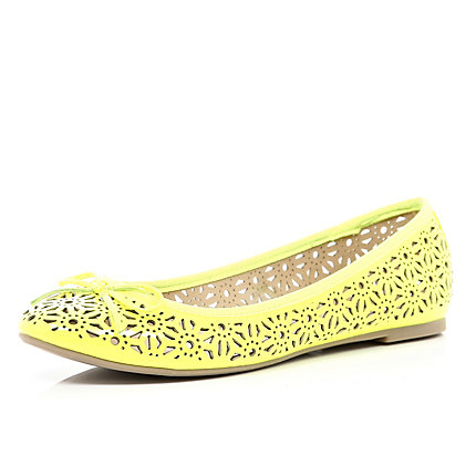 Yellow fluro laser cut out ballet pumps