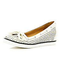 White perforated hidden wedge boat shoes
