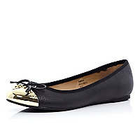 Black metal toe cap ballet pumps