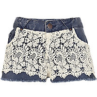 Blue Chelsea Girl lace overlay denim shorts