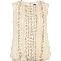 Cream Chelsea Girl sleeveless tabard top
