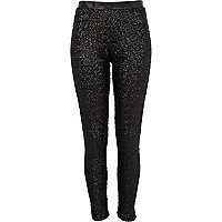 Black sequin high waisted trousers