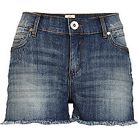 Mid wash cut off denim shorts