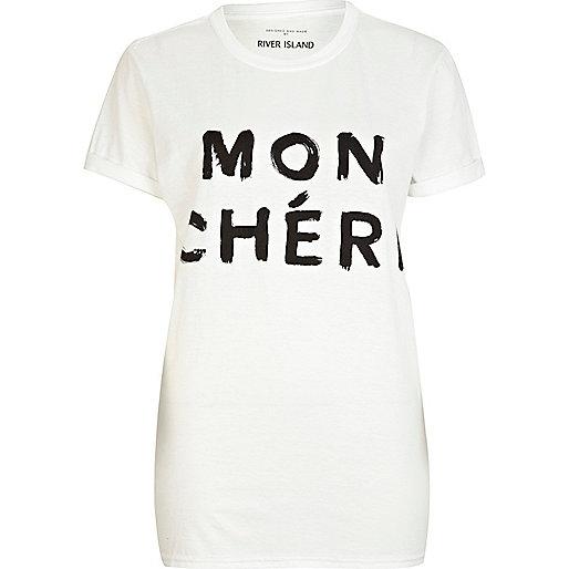 White Mon Cheri print oversized t-shirt