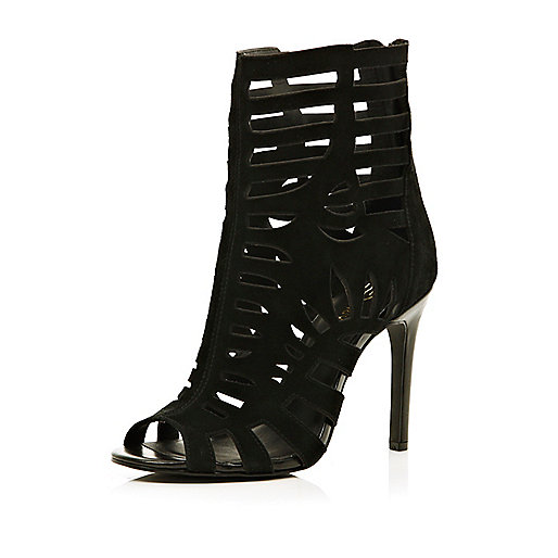 Black laser cut open toe heeled ankle boots