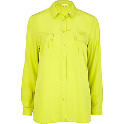 Lime Green Blouse Womens 14
