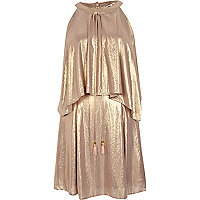Gold Chelsea Girl metallic frill front dress