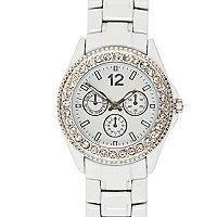 White diamante encrusted bracelet watch