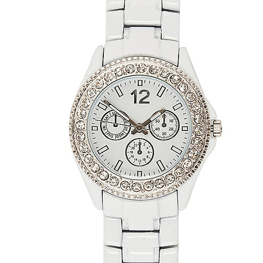 White rhinestone encrusted bracelet watch