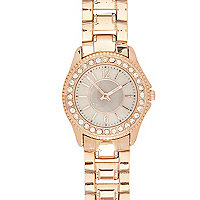 Rose gold tone metal diamante bracelet watch