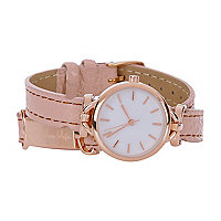 Pink rose gold tone wrap around watch