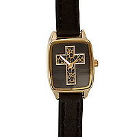 Black leopard print cross watch