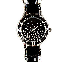 Black metal scattered diamante bracelet watch
