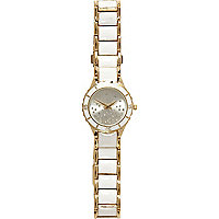 White metal trim diamante bracelet watch