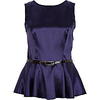 Dark blue satin belted peplum top